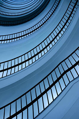 Spiral Staircase In Blue Tones Poster by Jaroslaw Blaminsky