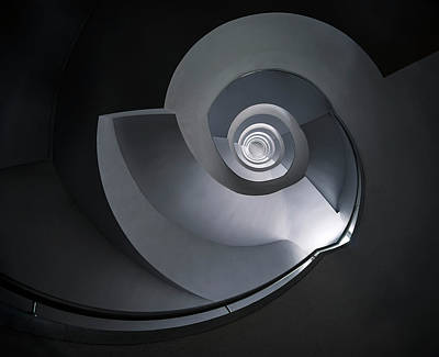 Poster featuring the photograph Spiral Staircase In Grey And Blue Tones by Jaroslaw Blaminsky