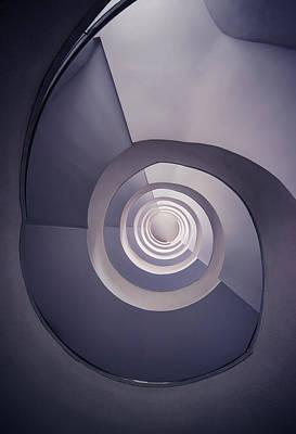 Spiral Staircase In Plum Tones Poster by Jaroslaw Blaminsky