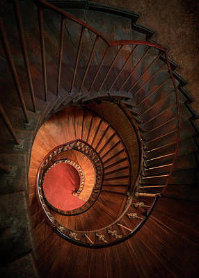 Spiral Staircase In Red And Orange Colors Poster
