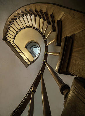 Spiral Staircase In Wide Angle Poster