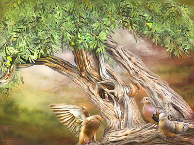 Poster featuring the mixed media Spirit In The Olive Tree by Carol Cavalaris
