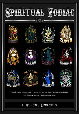 Poster featuring the digital art Spiritual Zodiac Signs by Raphael Lopez