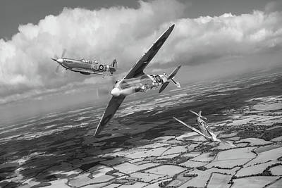 Poster featuring the photograph Spitfire Tr 9 Fighter Affiliation Bw Version by Gary Eason