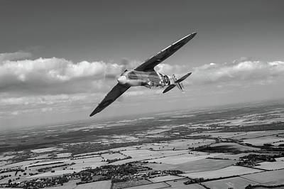 Poster featuring the photograph Spitfire Tr 9 On A Roll Bw Version by Gary Eason