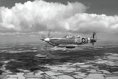 Poster featuring the photograph Spitfire Tr 9 Sm520 Bw Version by Gary Eason