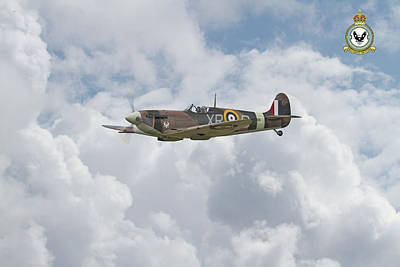 Poster featuring the digital art  Spitfire - Us Eagle Squadron by Pat Speirs