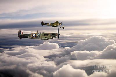 Spitfires On Patrol Poster by J Biggadike
