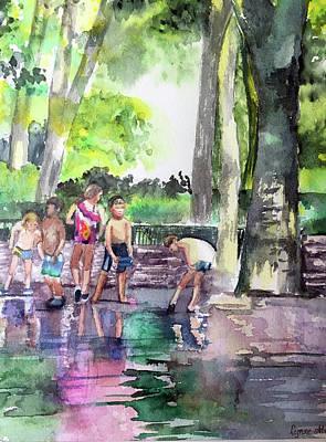 Splash In Battery Park Poster