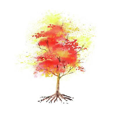 Splash Of Autumn Watercolor Tree Poster