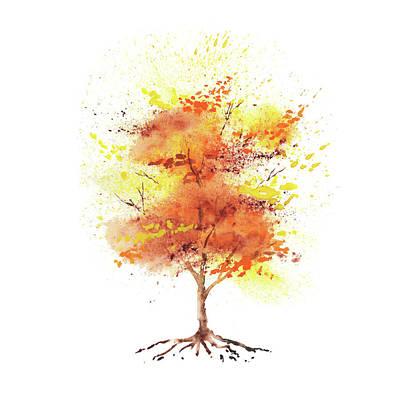 Splash Of Fall Watercolor Tree Poster