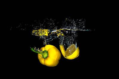 Splash Of  Pepper And Lemon Poster