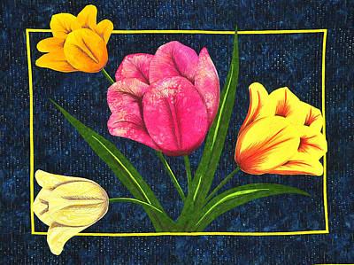Splash Of Tulips Poster by Jo Baner