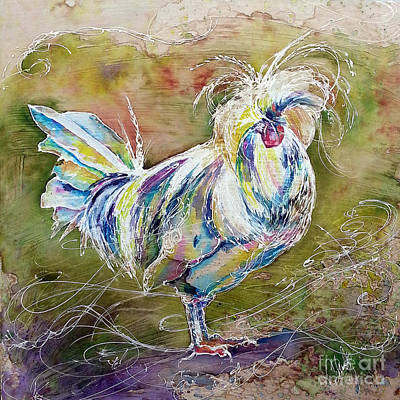 Poster featuring the painting Splash White Polish Chicken by Christy  Freeman