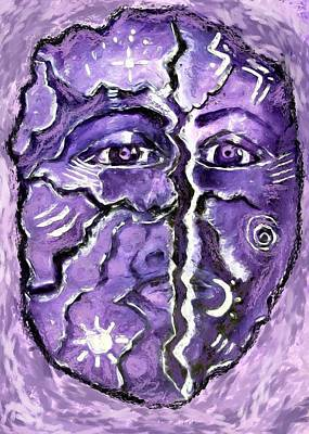 Poster featuring the painting Split A Mask by Shelley Bain
