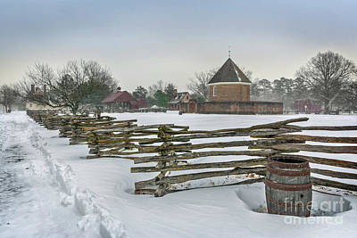Split Rail Fence In Front Of Colonial Williamsburg Magazine Poster