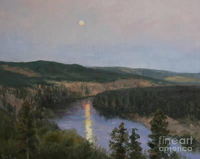 Spokane River At Dusk Poster by Nora Egger