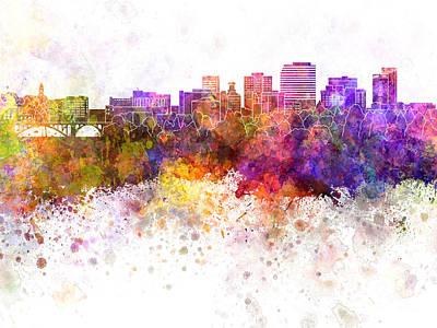 Spokane Skyline In Watercolor Background Poster by Pablo Romero