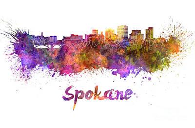 Spokane Skyline In Watercolor Poster by Pablo Romero