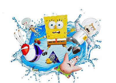Sponge Out Of Water Drawing Poster