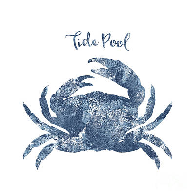 Sponge Painted Crab Tide Pool Silhouette, Delft Blue Crab, Nautical Art Poster by Tina Lavoie
