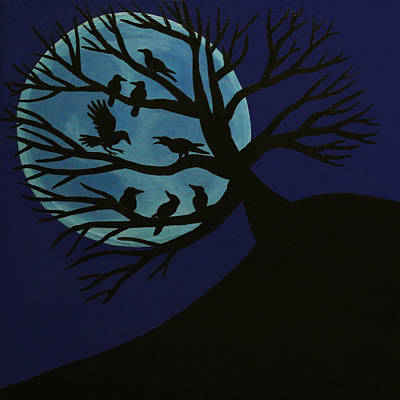 Spooky Raven Tree Poster