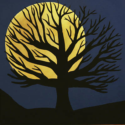 Spooky Tree Yellow Poster