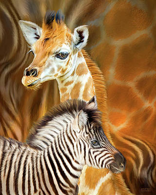Poster featuring the mixed media Spots And Stripes - Giraffe And Zebra by Carol Cavalaris