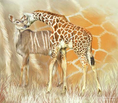 Poster featuring the mixed media Spots And Stripes - Giraffe - Antelope by Carol Cavalaris