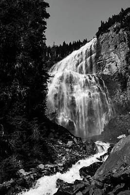 Spray Falls Black And White Poster