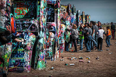 Poster featuring the photograph Spray Paint Fun At Cadillac Ranch by Randall Nyhof