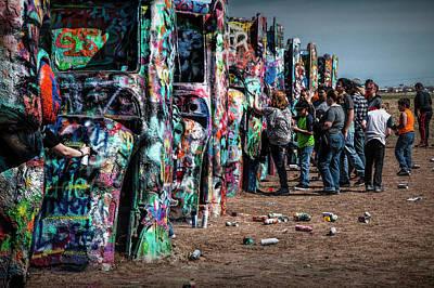 Spray Paint Fun At Cadillac Ranch Poster by Randall Nyhof