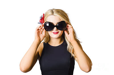 Spray Tan Girl Wearing Goggles. Tanning Beauty Poster