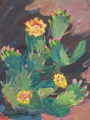 Poster featuring the painting Spring And Prickly Burst Cactus by Diane McClary