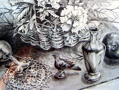 Poster featuring the drawing Spring Arrangemnt by Linda Shackelford