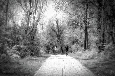 Spring Bike Ride On The Woodland Trail Bw Poster by Thomas Woolworth
