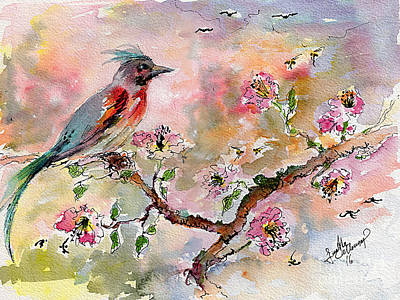 Poster featuring the painting Spring Bird Fantasy Watercolor  by Ginette Callaway