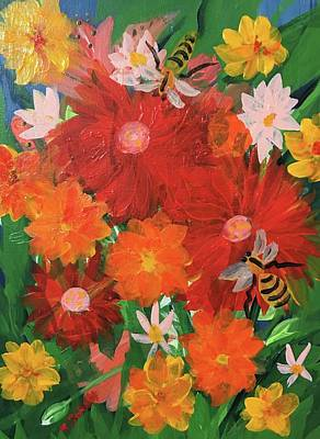 Spring Bumble Bees Poster