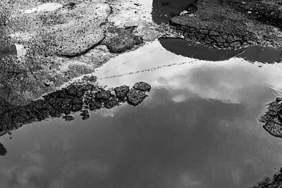 Spring Clouds Puddle Reflection Poster