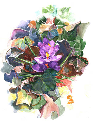 Poster featuring the painting Spring Crocus by Nancy Watson