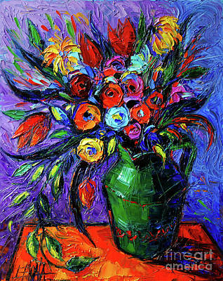 Spring Flowers In Green Jug Poster by Mona Edulesco