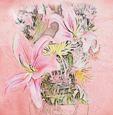 Spring Fowers With Vase Poster