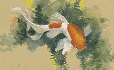 Spring Goldfish I Poster by Tracie Thompson