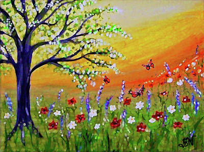 Poster featuring the painting Spring Has Sprung by Sonya Nancy Capling-Bacle