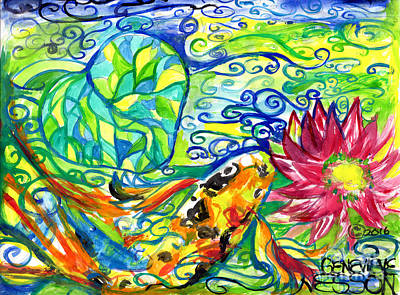 Spring Koi Fish With Water Lily Poster