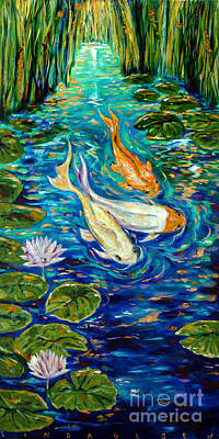 Poster featuring the painting Spring Koi by Linda Olsen