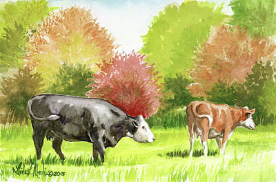 Poster featuring the painting Spring Morning Graze by Linda L Martin