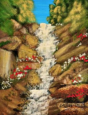 Spring Mountain Waterfall Poster by Sharon Eng