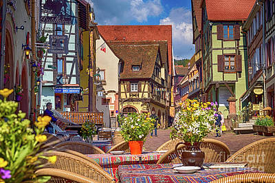 Spring On The Street, Riquewihr, France, Hdr Poster