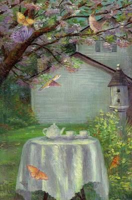 Spring Orchard Teatime Poster